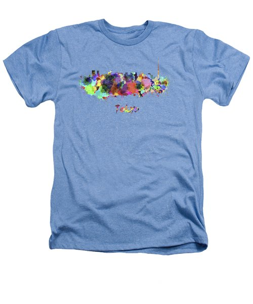 Tokyo V2 Skyline In Watercolor Heathers T-Shirt by Pablo Romero