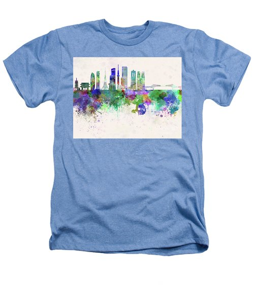 Tokyo V3 Skyline In Watercolor Background Heathers T-Shirt by Pablo Romero
