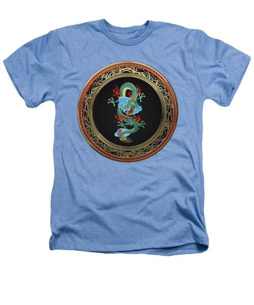 Treasure Trove - Turquoise Dragon Over White Leather Heathers T-Shirt