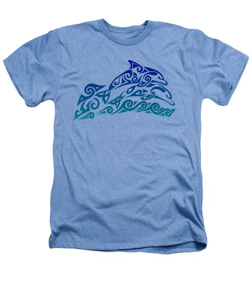Tribal Dolphins Heathers T-Shirt by Rebecca Wang