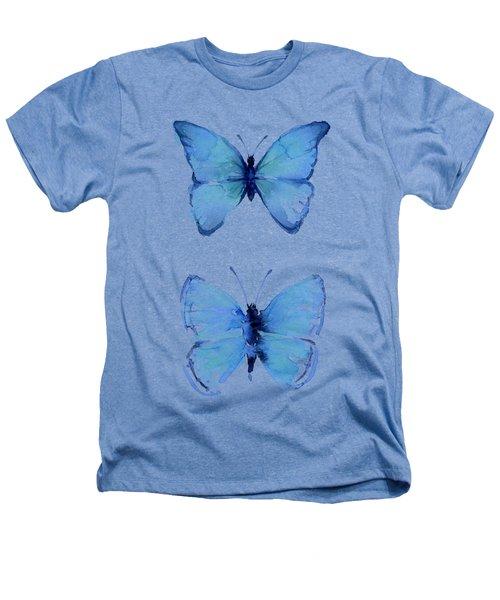 Two Blue Butterflies Watercolor Heathers T-Shirt