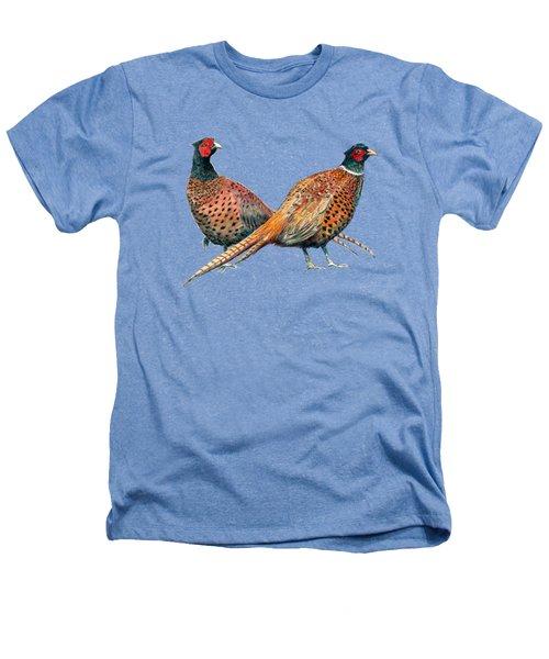 Two Pheasants Back To Back Heathers T-Shirt by Richard Skilton