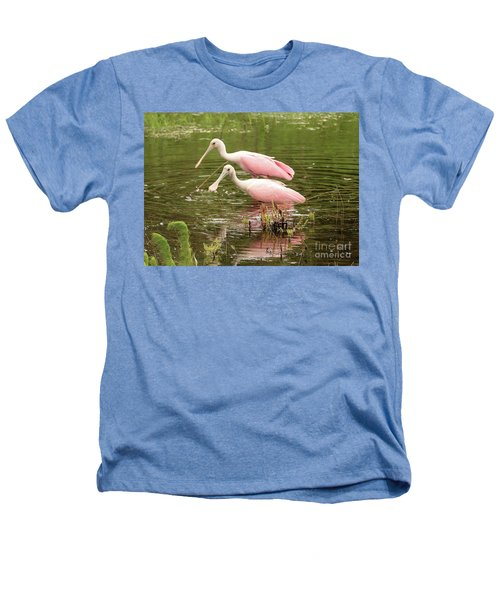 Two Spoonbills In Pond Heathers T-Shirt by Carol Groenen