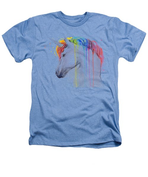 Unicorn Rainbow Watercolor Heathers T-Shirt by Olga Shvartsur