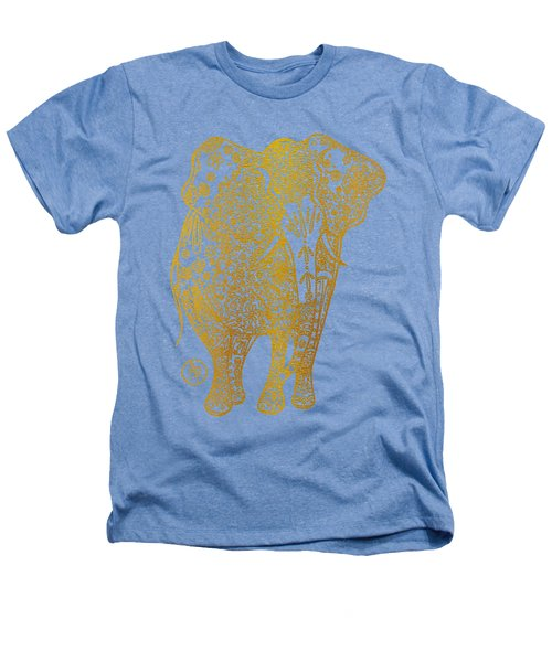 Unique Golden Elephant Art Drawing By Megan Duncanson Heathers T-Shirt by Megan Duncanson