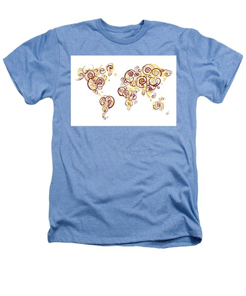 University Of Minnesota Twin Cities Colors Swirl Map Of The Worl Heathers T-Shirt by Jurq Studio