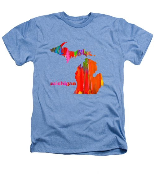 Vibrant Colorful Michigan State Map Painting Heathers T-Shirt by Design Turnpike