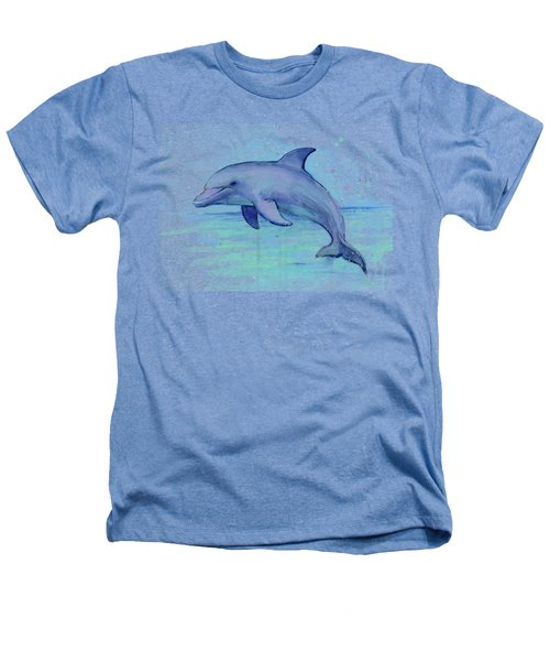 Watercolor Dolphin Painting - Facing Right Heathers T-Shirt