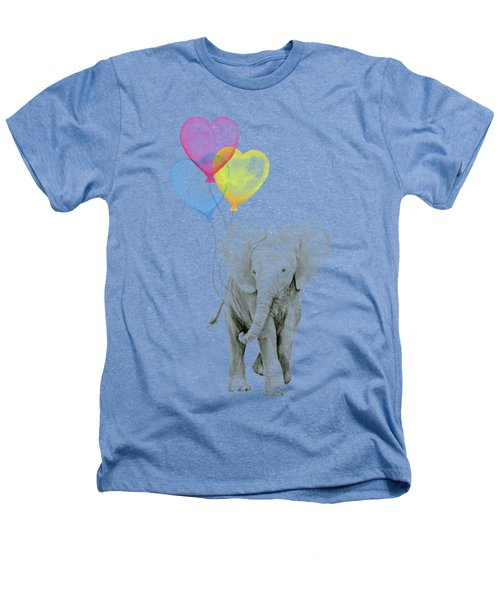 Watercolor Elephant With Heart Shaped Balloons Heathers T-Shirt by Olga Shvartsur