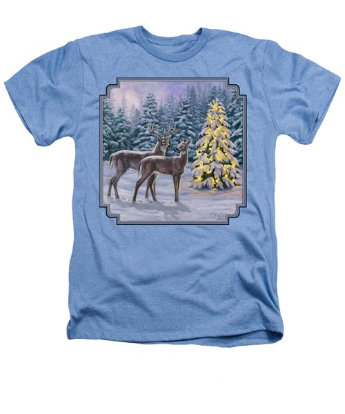 Whitetail Christmas Heathers T-Shirt by Crista Forest