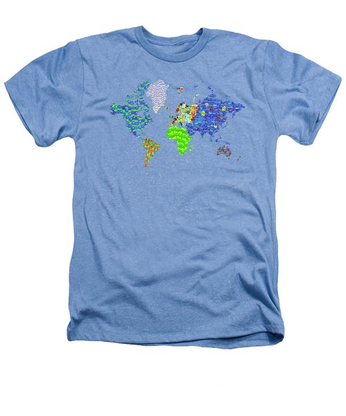Whole World's Gone Bananas - World Map Sticker Art Heathers T-Shirt
