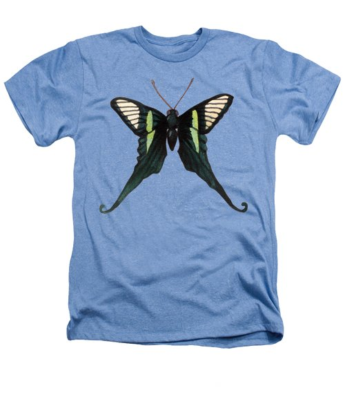 Winged Jewels 3, Watercolor Tropical Butterfly With Curled Wing Tips Heathers T-Shirt
