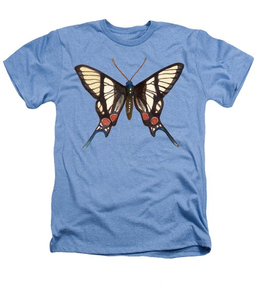 Winged Jewels 4, Watercolor Tropical Butterflie Black White Red Spots Heathers T-Shirt