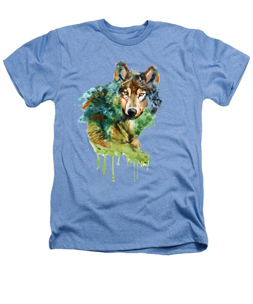 Wolf Face Watercolor Heathers T-Shirt by Marian Voicu