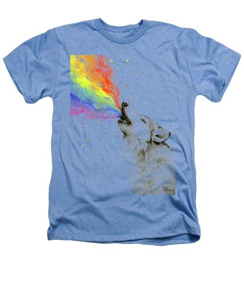 Wolf Rainbow Watercolor Heathers T-Shirt