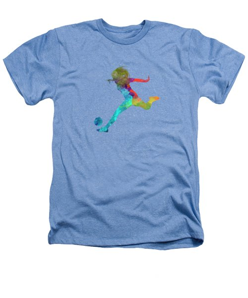 Woman Soccer Player 01 In Watercolor Heathers T-Shirt by Pablo Romero