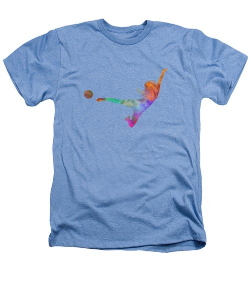 Woman Soccer Player 02 In Watercolor Heathers T-Shirt
