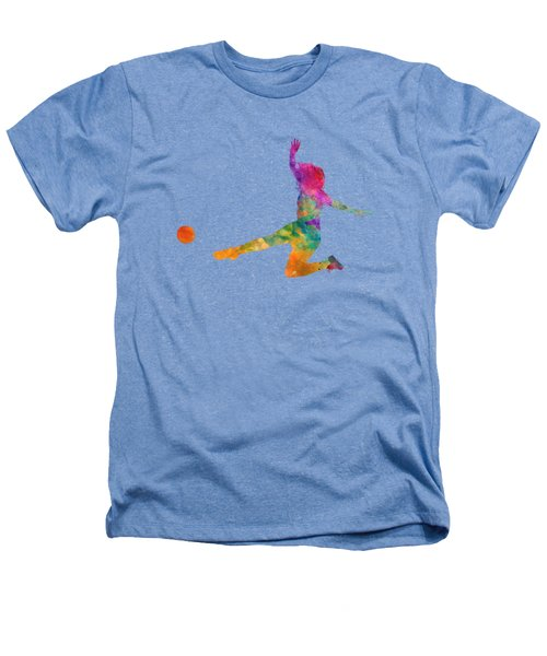 Woman Soccer Player 11 In Watercolor Heathers T-Shirt