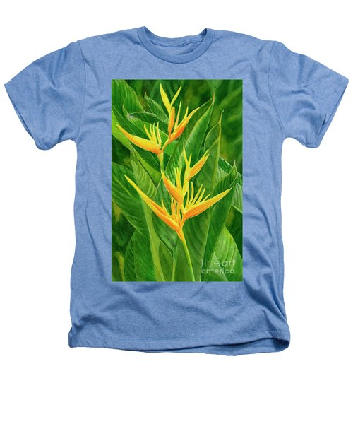 Yellow Orange Heliconia With Leaves Heathers T-Shirt