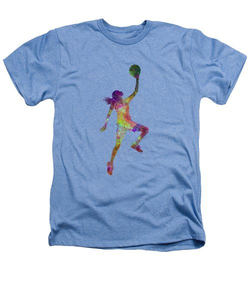 Young Woman Basketball Player 02 In Watercolor Heathers T-Shirt