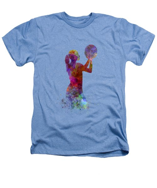 Young Woman Basketball Player 03 In Watercolor Heathers T-Shirt