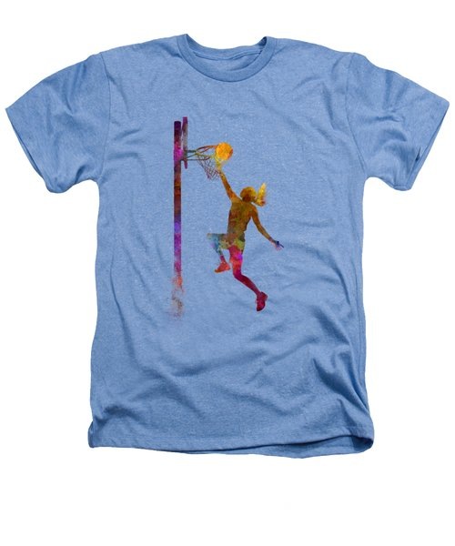 Young Woman Basketball Player 04 In Watercolor Heathers T-Shirt