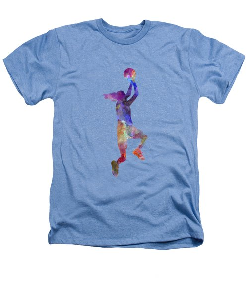 Young Woman Basketball Player 05 In Watercolor Heathers T-Shirt