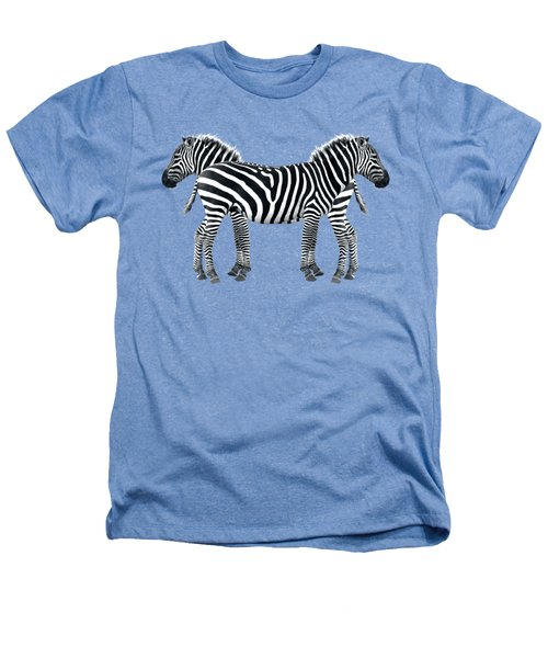 Zebra Pair On Black Heathers T-Shirt by Gill Billington