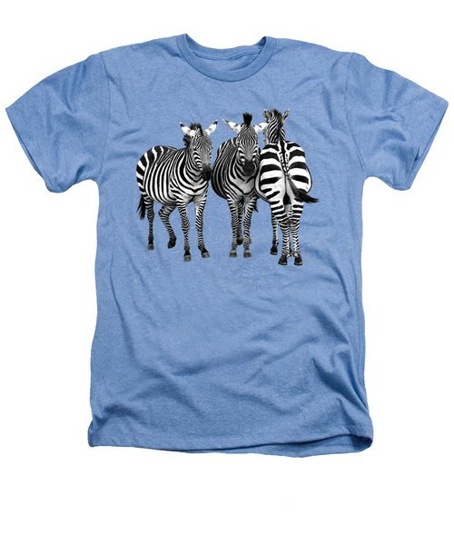Zebra - Three's A Crowd Heathers T-Shirt by Gill Billington