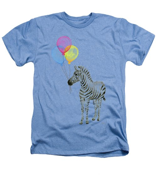 Zebra With Balloons Watercolor Whimsical Animal Heathers T-Shirt by Olga Shvartsur