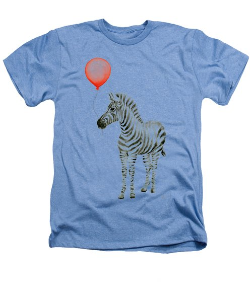 Zebra With Red Balloon Whimsical Baby Animals Heathers T-Shirt by Olga Shvartsur