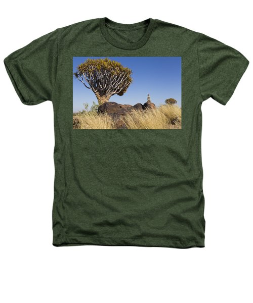 Meerkat In Quiver Tree Grassland Heathers T-Shirt