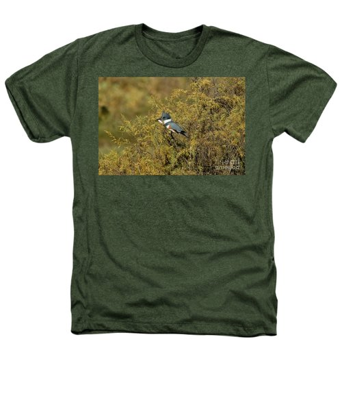 Belted Kingfisher With Fish Heathers T-Shirt by Anthony Mercieca