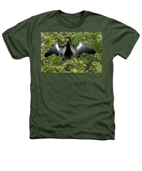 Anhinga Sunning Heathers T-Shirt by Anthony Mercieca