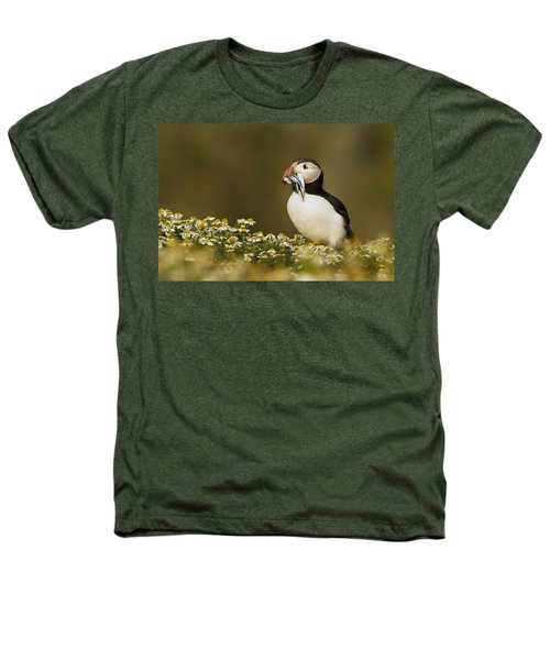 Atlantic Puffin Carrying Fish Skomer Heathers T-Shirt