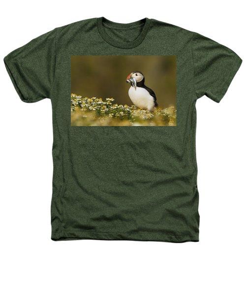 Atlantic Puffin Carrying Fish Skomer Heathers T-Shirt