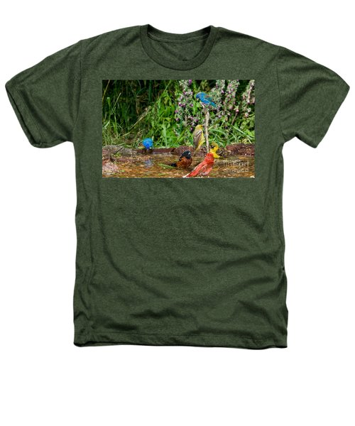 Birds Bathing Heathers T-Shirt by Anthony Mercieca