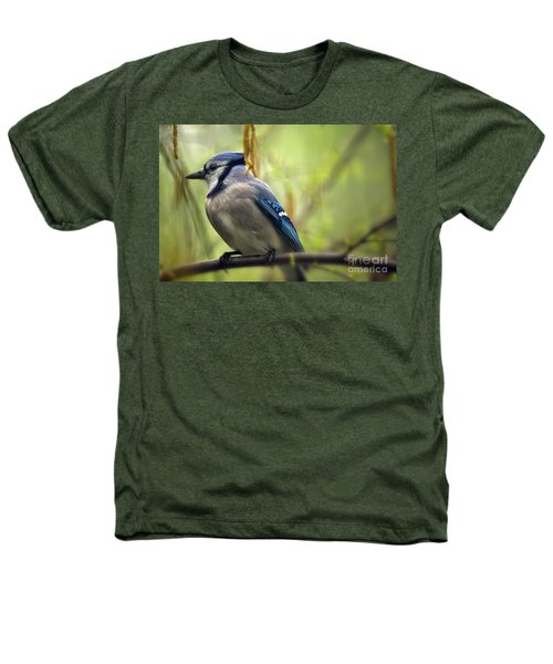 Blue Jay On A Misty Spring Day Heathers T-Shirt by Lois Bryan