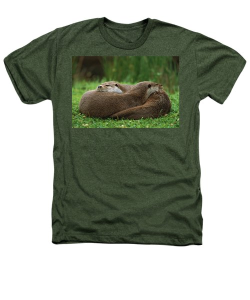 European River Otter Lutra Lutra Heathers T-Shirt by Ingo Arndt