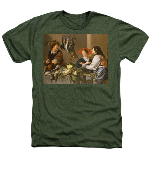 Game And Vegetable Sellers Oil On Canvas Heathers T-Shirt by Theodor Rombouts