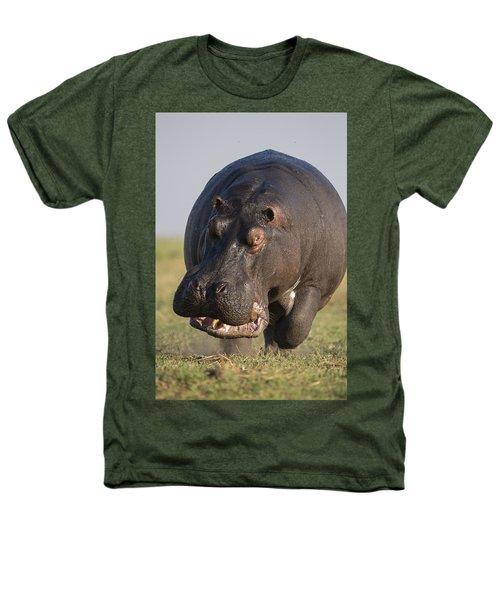 Hippopotamus Bull Charging Botswana Heathers T-Shirt by Vincent Grafhorst