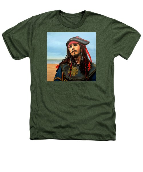 Johnny Depp As Jack Sparrow Heathers T-Shirt by Paul Meijering