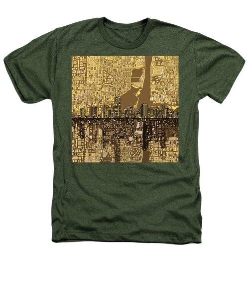 Miami Skyline Abstract 6 Heathers T-Shirt by Bekim Art