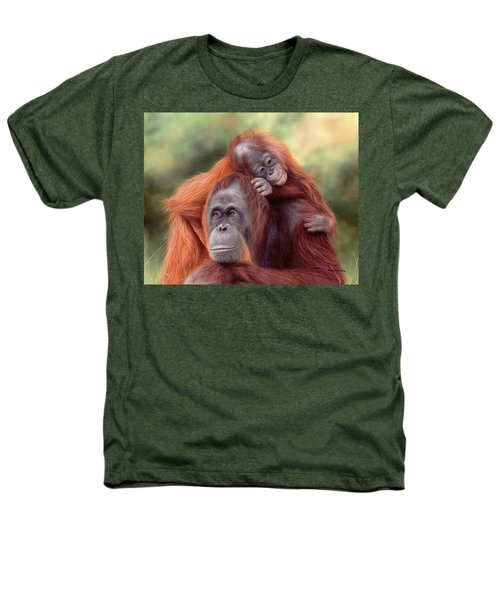 Orangutans Painting Heathers T-Shirt by Rachel Stribbling