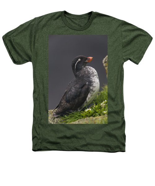 Parakeet Auklet Sitting In Green Heathers T-Shirt by Milo Burcham