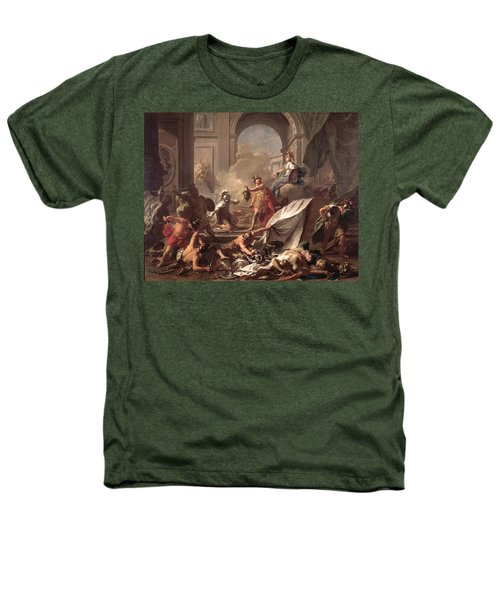 Perseus, Under The Protection Of Minerva, Turns Phineus To Stone By Brandishing The Head Of Medusa Heathers T-Shirt by Jean-Marc Nattier