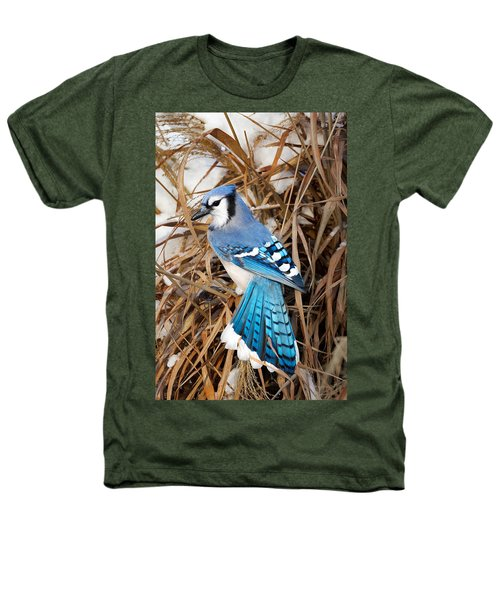 Portrait Of A Blue Jay Heathers T-Shirt by Bill Wakeley