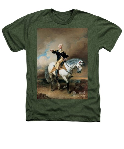 Portrait Of George Washington Taking The Salute At Trenton Heathers T-Shirt by John Faed
