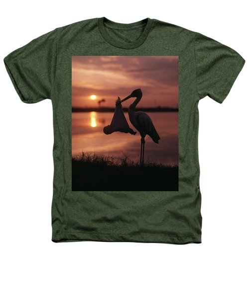 Sunrise Silhouette Of Stork Carrying Heathers T-Shirt