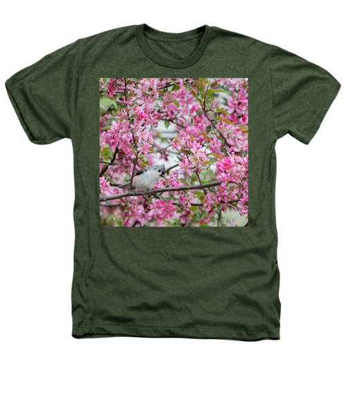 Tufted Titmouse In A Pear Tree Square Heathers T-Shirt by Bill Wakeley